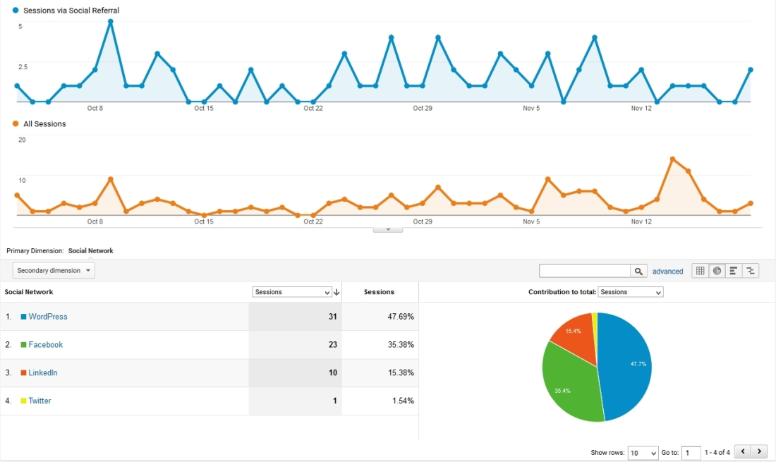Social media referral view in Google Analytics